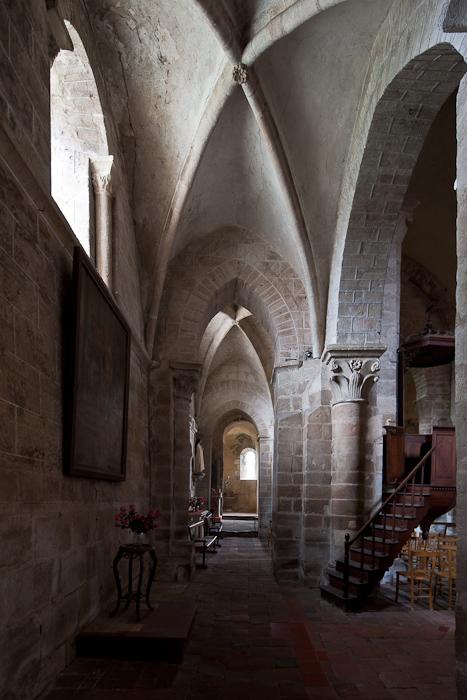 Side aisle, Église Saint Martin, Ygrande (Allier)  Photo by Dennis Aubrey