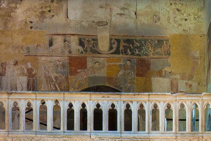 Narthex tribune frescoes, Église Saint-Léger, Ébreuil (Allier) Photo by PJ McKey