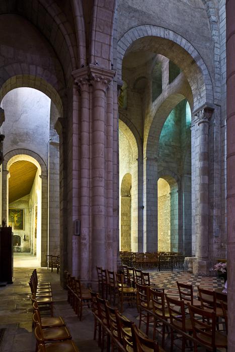 Crossing from transept, Église Saint-Léger, Ébreuil (Allier) Photo by PJ McKey