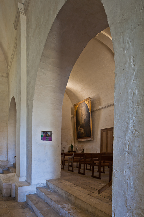 Side aisle from the nave, Notre Dame de Echillais, Echillais (Charente-Maritime)  Photo by PJ McKey