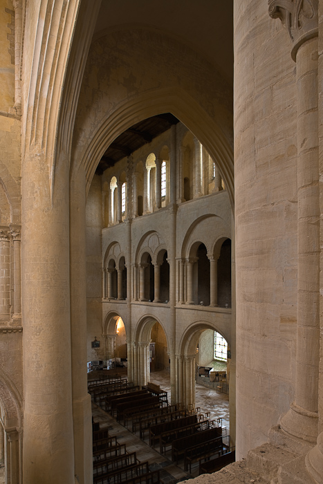 Nave from tribune, Eglise Abbatiale Saint Vigor, Cerisy-la-Forêt (Manche)  Photo by Dennis Aubrey