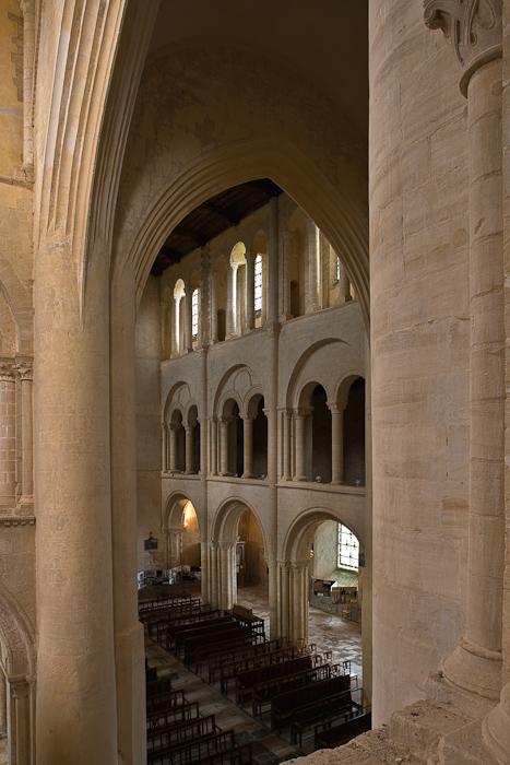 Nave from tribune, Eglise Abbatiale Saint Vigor, Cerisy-la-Forêt (Manche)  Photo by Dennis Aubrey