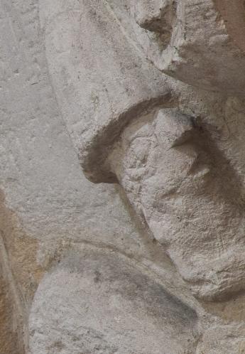 Detail, centaur capital, Église Notre-Dame-de-l'Assomption, Sainte Marie-du-Mont (Manche) Photo by Dennis Aubrey