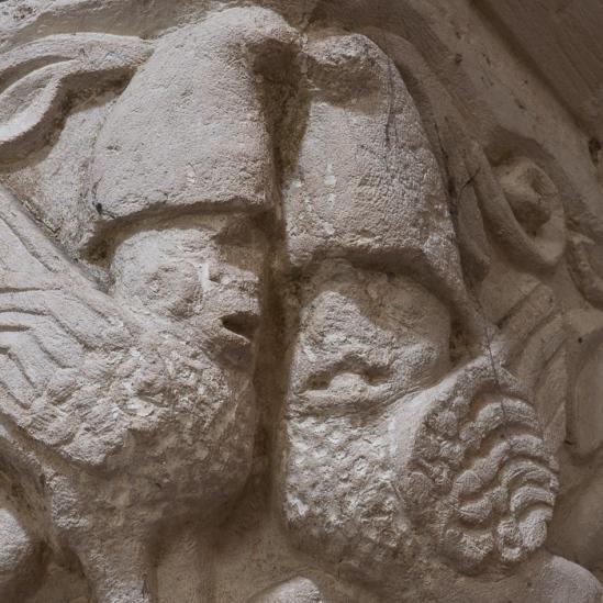 Romanesque griffins detail, Église Notre-Dame-de-l'Assomption, Sainte Marie-du-Mont (Manche) Photo by Dennis Aubrey