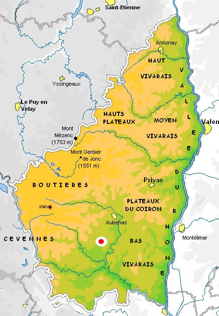 Map of the Ardèche