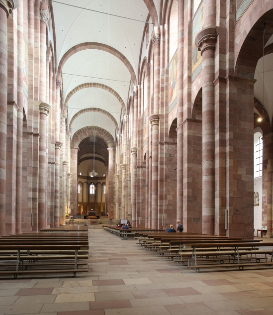 View of nave toward choir, Imperial Cathedral Basilica of Saint Mary and Saint Stephen, Speyer (Rhineland-Palatinate)  Photo by Jong-Soung Kimm