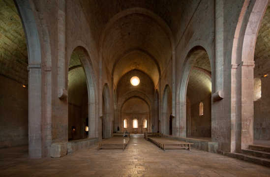 Nave and side aisles, Abbaye de Thoronet, Le Thoronet (Var) Photo by Dennis Aubrey