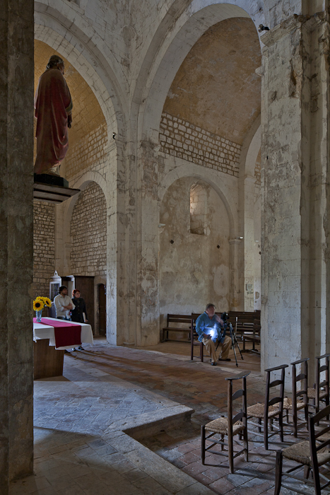 Three photographers at work, Église Saint Pierre de Larnas (Ardèche)  Accidental photo by PJ McKey