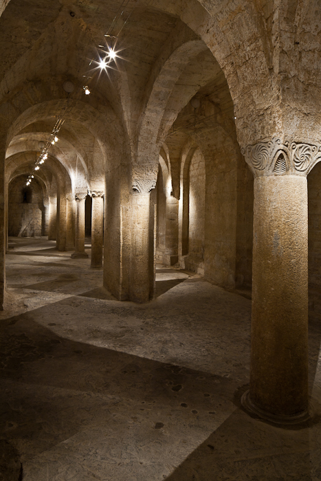 Crypt, Abbaye Sainte Marie de Cruas, Cruas (Ardèche) Photo by PJ McKey