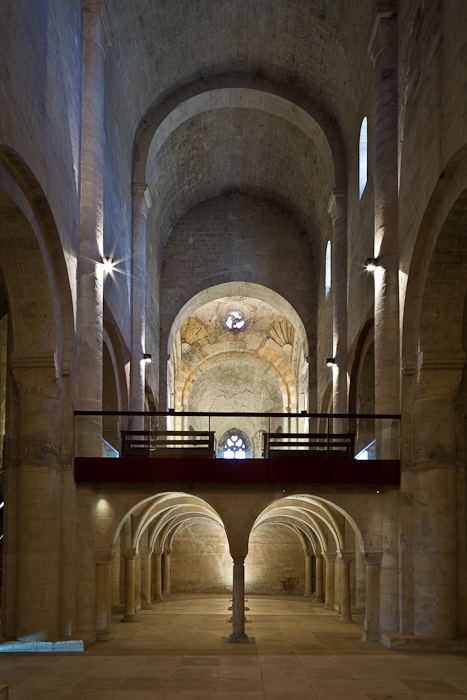 Tribune from the nave floor, Abbaye Sainte Marie de Cruas, Cruas (Ardèche) Photo by PJ McKey