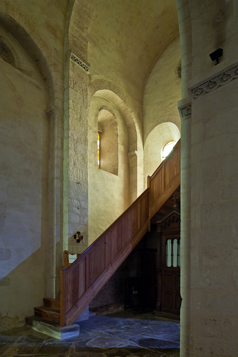 West end of side aisle, Église Saint Andéol, Bourg-Saint-Andéol (Ardèche) Photo by PJ McKey