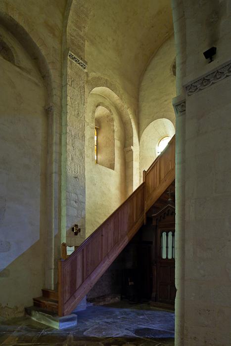 West end of side aisle, Église Saint Andéol, Bourg-Saint-Andéol (Ardèche) Photo by PJ McKey