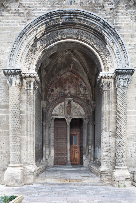 South portal, Église Notre Dame du Lac, Le Thor (Vaucluse) Photo by PJ McKey