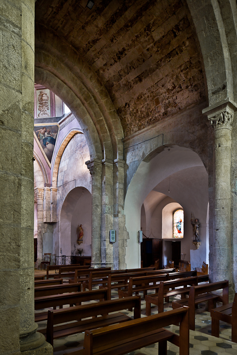 Nave with decorated barrel vault, Église Notre Dame, Vinezac (Ardèche) Photo by PJ McKey