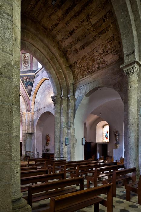 Nave with decorated barrel vault, Église Notre Dame, Vinezac (Ardèche) Photo by PJ McKey