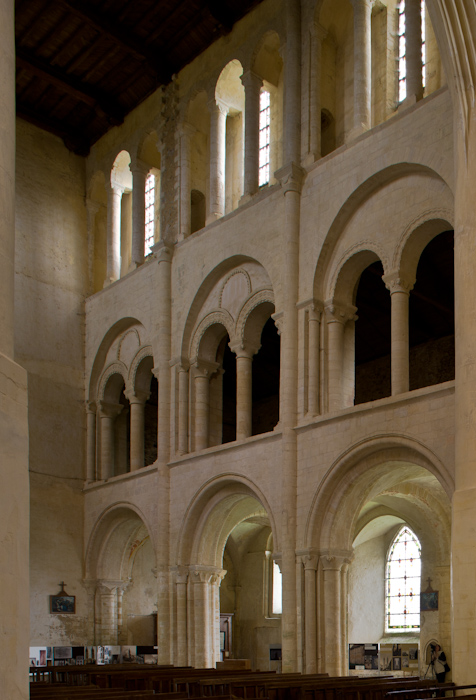 Nave elevation, Église Abbatiale Saint Vigor, Cerisy-la-Forêt (Manche) Photo by Dennis Aubrey