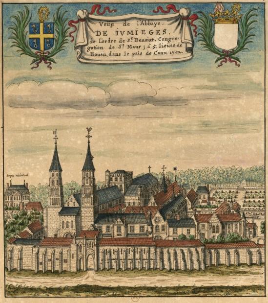 View of Abbaye Saint-Pierre de Jumièges (Seine-Maritime) (1702)  Bibliothèque nationale de France,  Image in the Public Domain