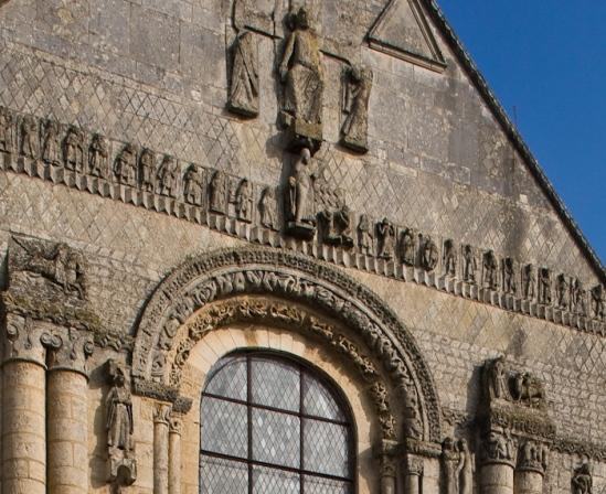 Facade detail, Église Abbatiale Saint-Jouin-de-Marnes, Jouin-de-Marnes (Deux-Sèvres) Photo by Dennis Aubrey