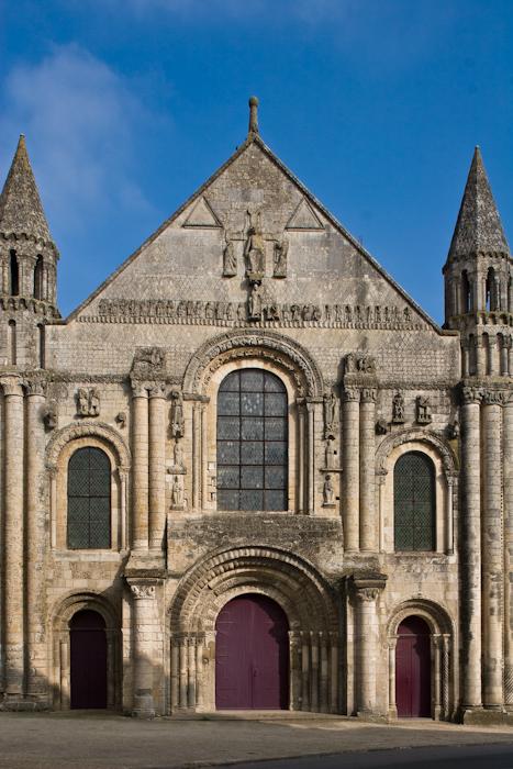 Western façade, Église Abbatiale Saint-Jouin-de-Marnes, Jouin-de-Marnes (Deux-Sèvres)  Photo by Dennis Aubrey