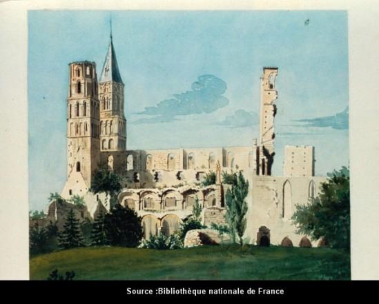 Watercolor (1849) View of Abbaye Saint-Pierre de Jumièges (Seine-Maritime) Bibliothèque nationale de France, Image in the Public Domain