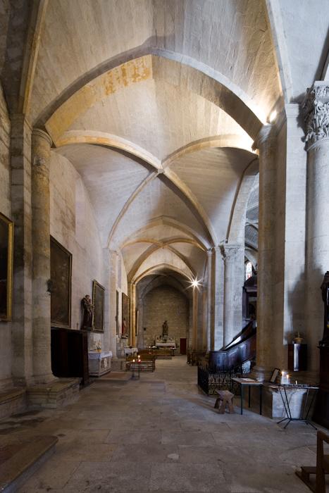 Side aisle, Abbaye de Saint-Gilles, Saint-Gilles-du-Gard (Bouches-du-Rhône)  Photo by Dennis Aubrey