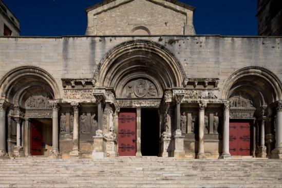 West façade, Abbaye de Saint-Gilles, Saint-Gilles-du-Gard (Bouches-du-Rhône)  Photo by Dennis Aubrey