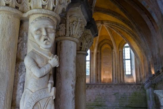 Chapter house sculpture, Abbaye de Bénédictins Saint-Georges, Saint-Martin-de-Boscherville (Seine-Maritime)  Photo by Dennis Aubrey