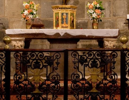 Porphyry altar, Eglise Sainte-Marie à Corneilla-de-Conflent, Corneilla-de-Conflent (Pyrénées-Orientales) Photo by Dennis Aubrey