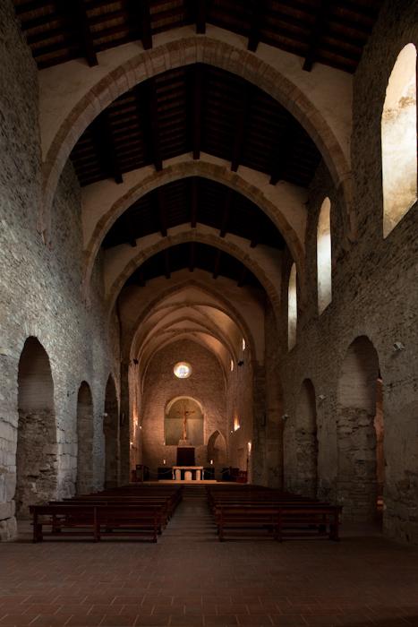 Nave, Abbaye Saint-Michel de Cuxa, Codalet (Pyrénées-Orientales) Photo by Dennis Aubrey