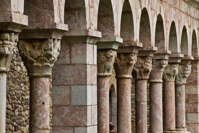 Cloister columns, Abbaye Saint-Michel de Cuxa, Codalet (Pyrénées-Orientales) Photo by Dennis Aubrey