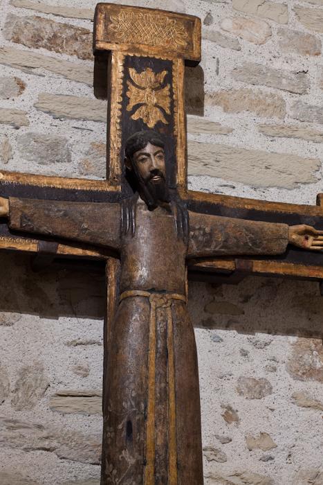 Romanesque crucifix Santa Majestat, Chapelle de la Trinité, Prunet-et-Belpuig (Pyrénées-Orientales)  Photo by Dennis Aubrey