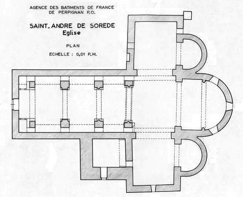 Plan, Église Saint-André-de-Sorède, Saint-André (Pyrénées-Orientales)