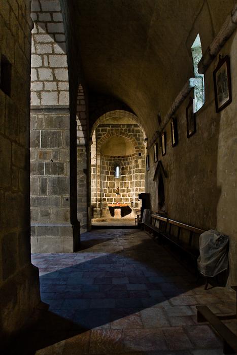 Side aisle, Eglise Sainte-Marie à Corneilla-de-Conflent, Corneilla-de-Conflent (Pyrénées-Orientales) Photo by PJ McKey