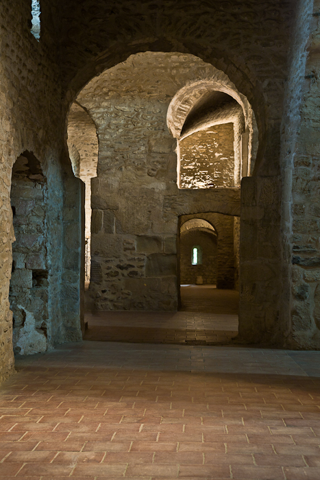Side aisle, Abbaye Saint-Michel de Cuxa, Codalet (Pyrénées-Orientales) Photo by PJ McKey