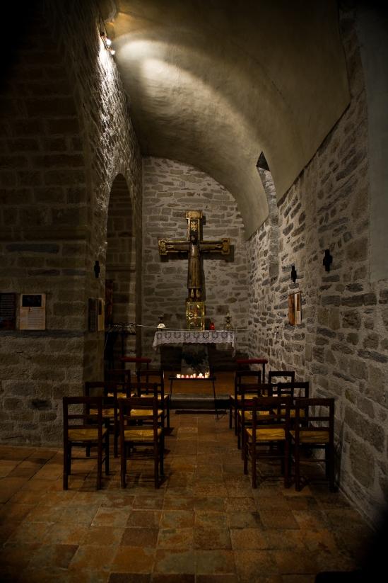 Side aisle, Chapelle de la Trinité, Prunet-et-Belpuig (Pyrénées-Orientales) Photo by PJ McKey
