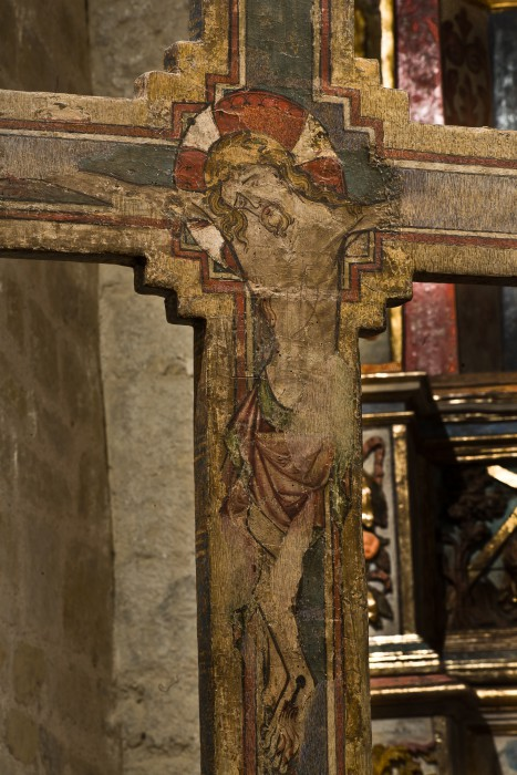 Gothic painted cross, Chapelle de la Trinité, Prunet- et- Belpuig (Pyrénées-Orientales) Photo by PJ McKey