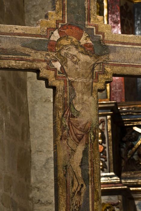 Gothic painted cross, Chapelle de la Trinité, Prunet- et- Belpuig (Pyrénées-Orientales) Photo by PJ McKey