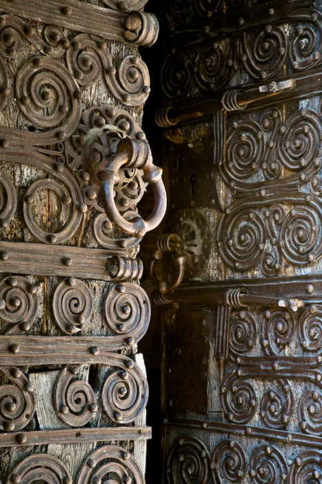 Metal door fixtures, Chapelle de la Trinité, Prunet- et- Belpuig (Pyrénées-Orientales) Photo by PJ McKey