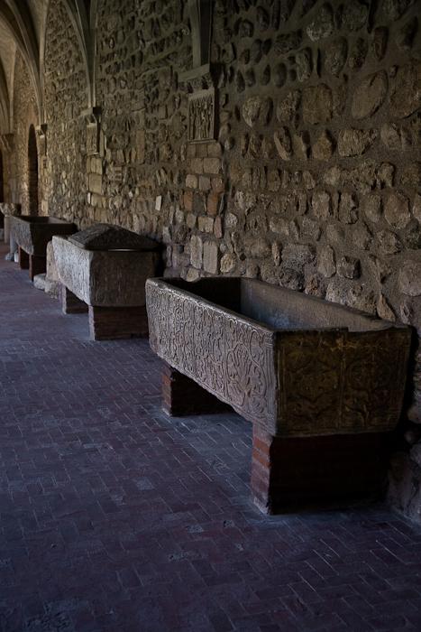 Merovingian sarcophagi, Cathédrale Sainte-Eulalie-et-Sainte-Julie d'Elne, Elne (Pyrénées-Orientales) Photo by PJ McKey