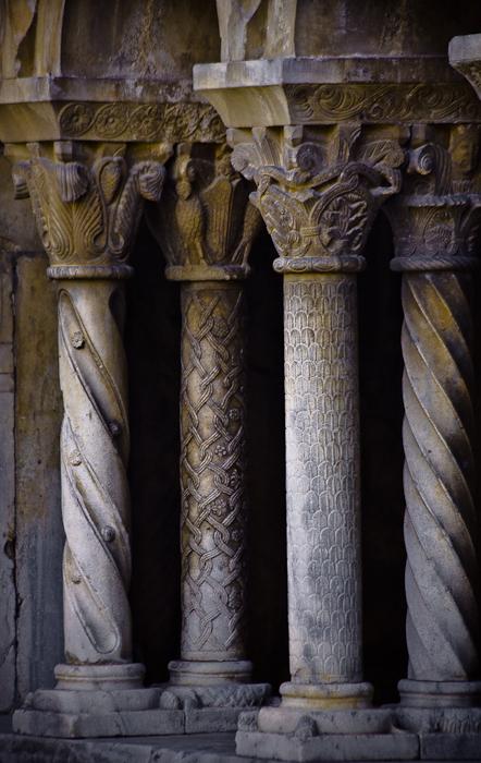 Carved cloister columns, Cathédrale Sainte-Eulalie-et-Sainte-Julie d'Elne, Elne (Pyrénées-Orientales) Photo by PJ McKey