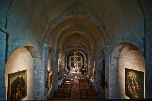 Nave from choir loft, Église Saint Michel, Saint-Génis-des-Fontaines (Pyrénées-Orientales) Photo by PJ McKey