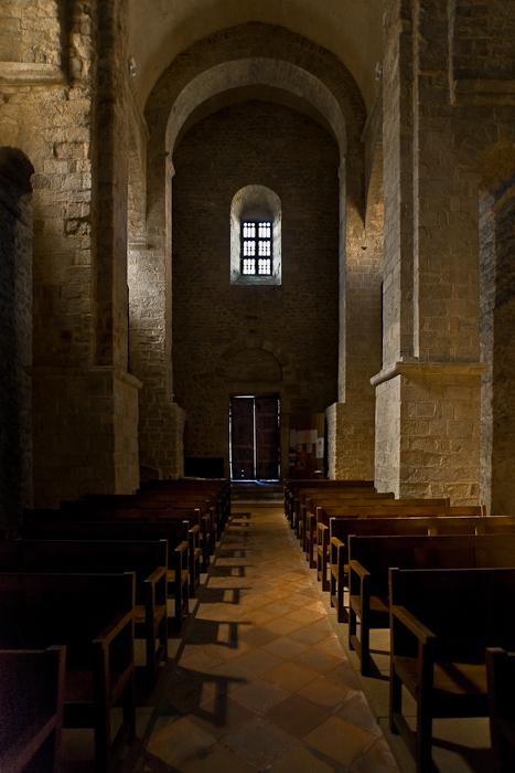 Nave from altar, Église Saint-André-de-Sorède, Saint-André (Pyrénées-Orientales)  Photo by PJ McKey