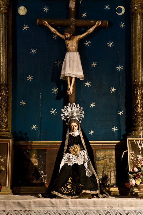 Mater Dolorosa and crucifix, Église Saint Jean de Dorres, Dorres (Pyrénées-Orientales) Photo by PJ McKey