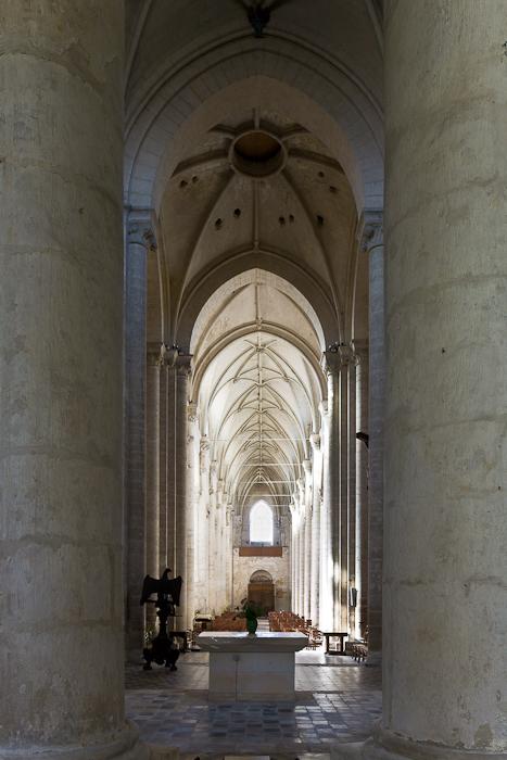 Nave from ambulatory, Église Saint-Pierre d'Airvault, Airvault (Deux-Sèvres) Photo by PJ McKey