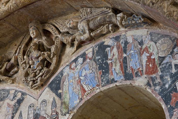 Tympanum detail, Abbaye Saint Aubin, Angers (Maine-et-Loire)  Photo by Dennis Aubrey