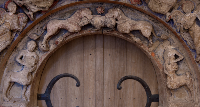 Lower archivolt detail, Refectory Door, Abbaye Saint Aubin, Angers (Maine-et-Loire) Photo by Dennis Aubrey