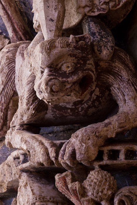 Demon detail, Refectory Door, Abbaye Saint Aubin, Angers (Maine-et-Loire) Photo by Dennis Aubrey