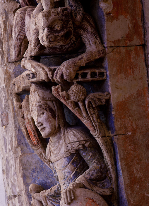 Detail, Refectory Door,  Abbaye Saint Aubin, Angers (Maine-et-Loire)  Photo by Dennis Aubrey