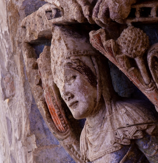 Knight detail, Refectory Door, Abbaye Saint Aubin, Angers (Maine-et-Loire) Photo by Dennis Aubrey