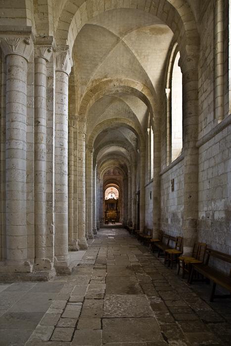 Side aisle, Abbaye de Bénédictins Saint-Georges, Saint-Martin-de-Boscherville (Seine-Maritime)  Photo by PJ McKey